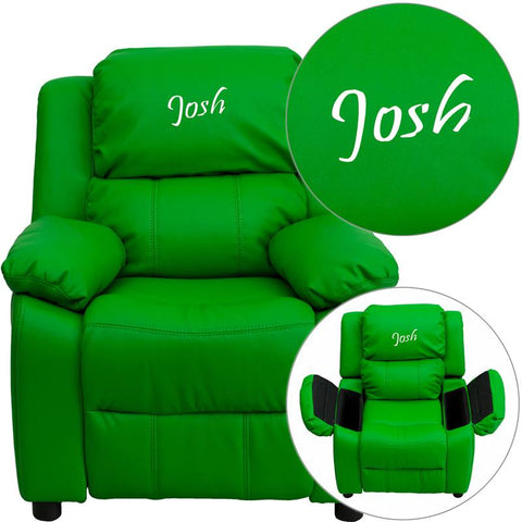 Flash Furniture BT-7985-KID-GRN-TXTEMB-GG Personalized Deluxe Padded Green Vinyl Kids Recliner with Storage Arms - Peazz Furniture