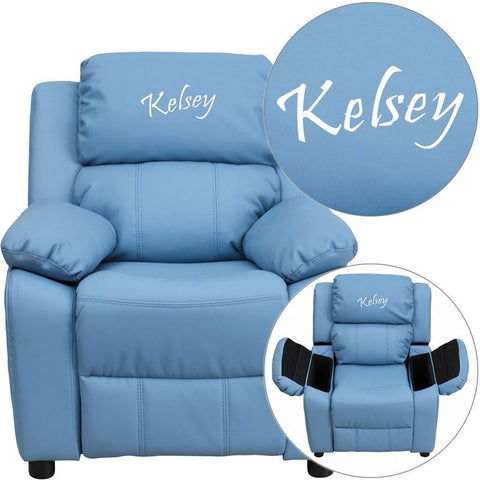 Flash Furniture BT-7985-KID-LTBLUE-TXTEMB-GG Personalized Deluxe Padded Light Blue Vinyl Kids Recliner with Storage Arms - Peazz Furniture