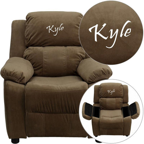 Flash Furniture BT-7985-KID-MIC-BRN-TXTEMB-GG Personalized Deluxe Padded Brown Microfiber Kids Recliner with Storage Arms - Peazz Furniture