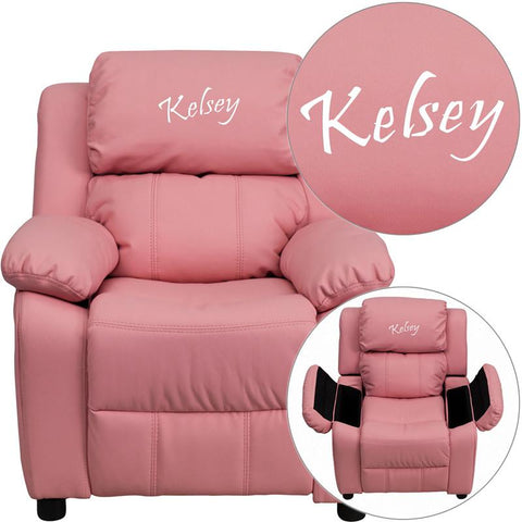 Flash Furniture BT-7985-KID-PINK-TXTEMB-GG Personalized Deluxe Padded Pink Vinyl Kids Recliner with Storage Arms - Peazz Furniture