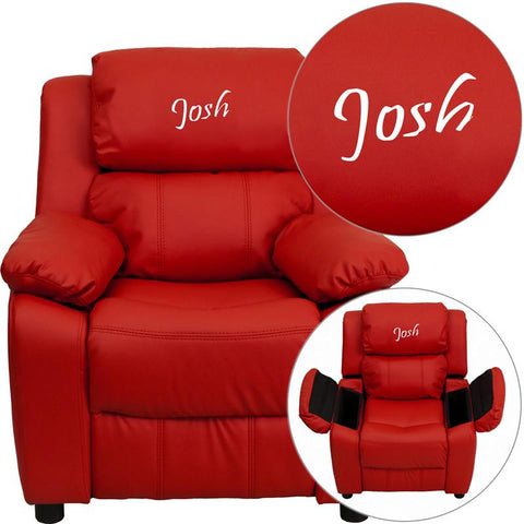 Flash Furniture BT-7985-KID-RED-TXTEMB-GG Personalized Deluxe Padded Red Vinyl Kids Recliner with Storage Arms - Peazz Furniture