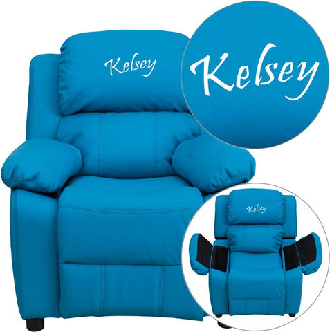 Flash Furniture BT-7985-KID-TURQ-TXTEMB-GG Personalized Deluxe Padded Turquoise Vinyl Kids Recliner with Storage Arms - Peazz Furniture