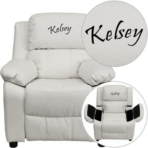 Flash Furniture BT-7985-KID-WHITE-TXTEMB-GG Personalized Deluxe Padded White Vinyl Kids Recliner with Storage Arms - Peazz Furniture