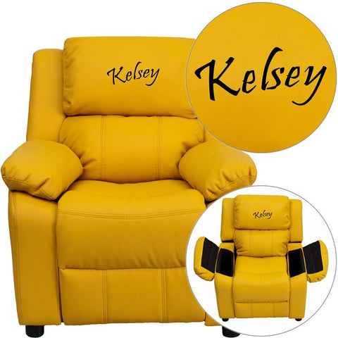 Flash Furniture BT-7985-KID-YEL-TXTEMB-GG Personalized Deluxe Padded Yellow Vinyl Kids Recliner with Storage Arms - Peazz Furniture
