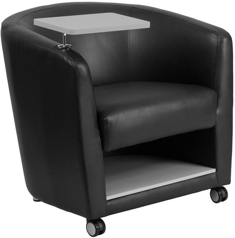 Flash Furniture BT-8220-BK-CS-GG Black Leather Guest Chair with Tablet Arm, Front Wheel Casters and Under Seat Storage - Peazz Furniture - 1