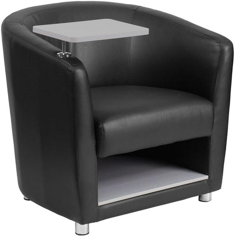 Flash Furniture BT-8220-BK-GG Black Leather Guest Chair with Tablet Arm, Chrome Legs and Under Seat Storage - Peazz Furniture - 1
