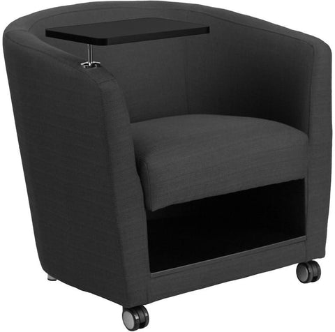 Flash Furniture BT-8220-GY-CS-GG Charcoal Gray Fabric Guest Chair with Tablet Arm, Front Wheel Casters and Under Seat Storage - Peazz Furniture - 1