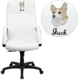 Flash Furniture BT-90033H-WH-EMB-GG Embroidered High Back White Leather Executive Swivel Office Chair with Memory Foam Padding - Peazz Furniture