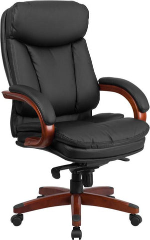Flash Furniture BT-90171H-S-GG High Back Black Leather Executive Swivel Office Chair with Synchro-Tilt Mechanism and Mahogany Wood Base - Peazz Furniture - 1