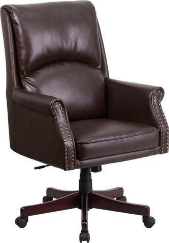 Flash Furniture BT-9025H-2-BN-GG High Back Pillow Back Brown Leather Executive Swivel Office Chair - Peazz Furniture - 1