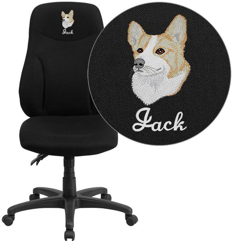 Flash Furniture BT-90297H-EMB-GG Embroidered High Back Black Fabric Multi-Functional Ergonomic Swivel Task Chair - Peazz Furniture
