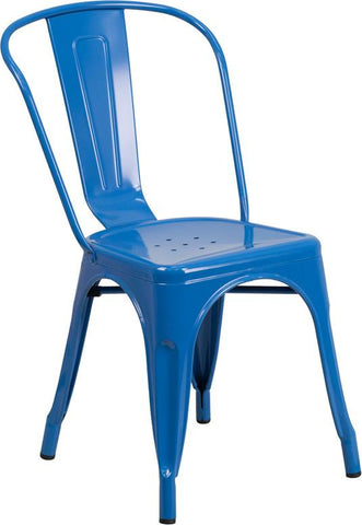 Flash Furniture CH-31230-BL-GG Blue Metal Indoor-Outdoor Stackable Chair - Peazz Furniture - 1