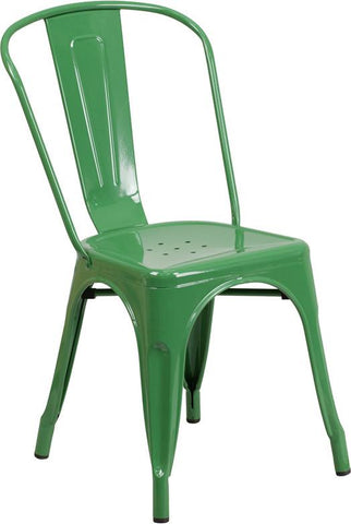 Flash Furniture CH-31230-GN-GG Green Metal Indoor-Outdoor Stackable Chair - Peazz Furniture - 1