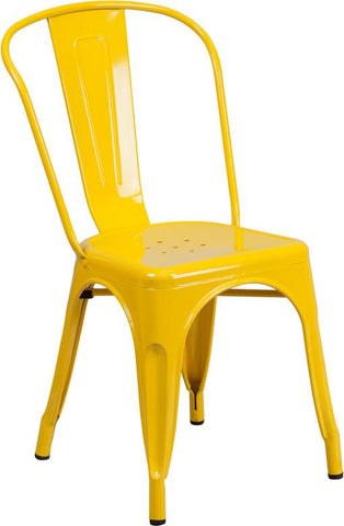 Flash Furniture CH-31230-YL-GG Yellow Metal Indoor-Outdoor Stackable Chair - Peazz Furniture - 1