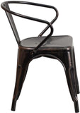 Flash Furniture CH-31270-BQ-GG Black-Antique Gold Metal Indoor-Outdoor Chair with Arms - Peazz Furniture - 2