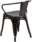Flash Furniture CH-31270-BQ-GG Black-Antique Gold Metal Indoor-Outdoor Chair with Arms - Peazz Furniture - 3