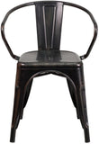 Flash Furniture CH-31270-BQ-GG Black-Antique Gold Metal Indoor-Outdoor Chair with Arms - Peazz Furniture - 4