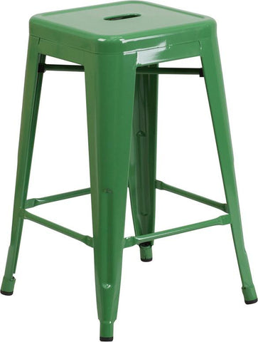 Flash Furniture CH-31320-24-GN-GG 24'' High Backless Green Metal Indoor-Outdoor Counter Height Stool with Square Seat - Peazz Furniture