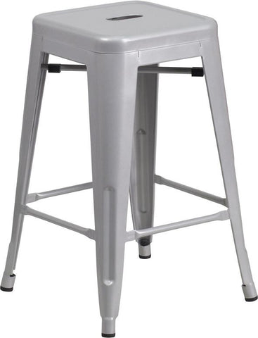 Flash Furniture CH-31320-24-SIL-GG 24'' High Backless Silver Metal Indoor-Outdoor Counter Height Stool with Square Seat - Peazz Furniture