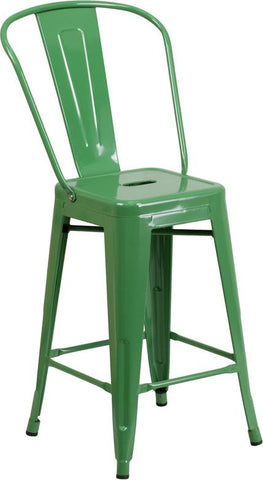 Flash Furniture CH-31320-24GB-GN-GG 24'' High Green Metal Indoor-Outdoor Counter Height Stool with Back - Peazz Furniture - 1