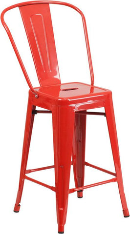 Flash Furniture CH-31320-24GB-RED-GG 24'' High Red Metal Indoor-Outdoor Counter Height Stool with Back - Peazz Furniture - 1