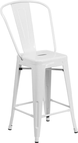 Flash Furniture CH-31320-24GB-WH-GG 24'' High White Metal Indoor-Outdoor Counter Height Stool with Back - Peazz Furniture - 1