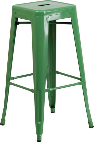 Flash Furniture CH-31320-30-GN-GG 30'' High Backless Green Metal Indoor-Outdoor Barstool with Square Seat - Peazz Furniture