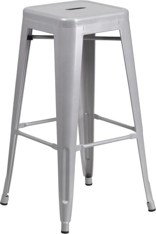 Flash Furniture CH-31320-30-SIL-GG 30'' High Backless Silver Metal Indoor-Outdoor Barstool with Square Seat - Peazz Furniture
