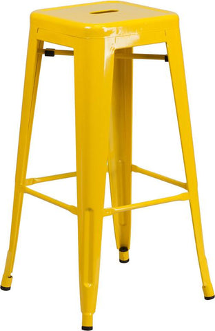 Flash Furniture CH-31320-30-YL-GG 30'' High Backless Yellow Metal Indoor-Outdoor Barstool with Square Seat - Peazz Furniture