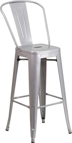 Flash Furniture CH-31320-30GB-SIL-GG 30'' High Silver Metal Indoor-Outdoor Barstool with Back - Peazz Furniture - 1