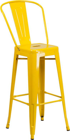 Flash Furniture CH-31320-30GB-YL-GG 30'' High Yellow Metal Indoor-Outdoor Barstool with Back - Peazz Furniture - 1