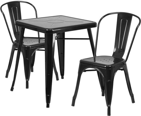 Flash Furniture CH-31330-2-30-BK-GG 23.75'' Square Black Metal Indoor-Outdoor Table Set with 2 Stack Chairs - Peazz Furniture