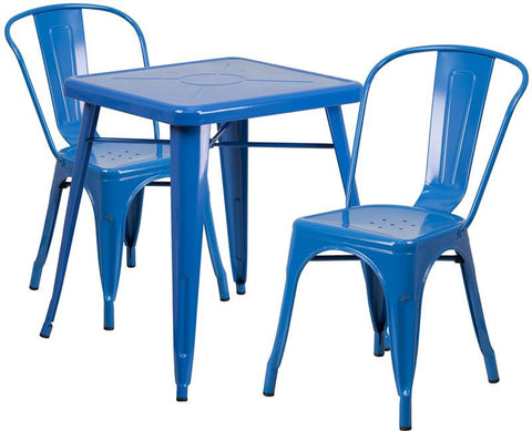 Flash Furniture CH-31330-2-30-BL-GG 23.75'' Square Blue Metal Indoor-Outdoor Table Set with 2 Stack Chairs - Peazz Furniture