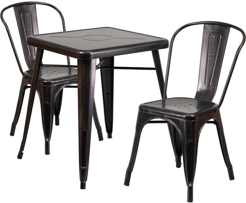 Flash Furniture CH-31330-2-30-BQ-GG 23.75'' Square Black-Antique Gold Metal Indoor-Outdoor Table Set with 2 Stack Chairs - Peazz Furniture
