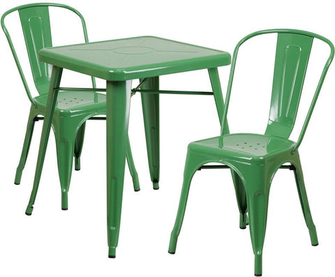 Flash Furniture CH-31330-2-30-GN-GG 23.75'' Square Green Metal Indoor-Outdoor Table Set with 2 Stack Chairs - Peazz Furniture