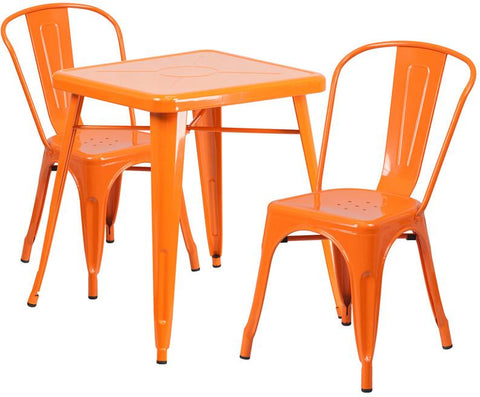 Flash Furniture CH-31330-2-30-OR-GG 23.75'' Square Orange Metal Indoor-Outdoor Table Set with 2 Stack Chairs - Peazz Furniture