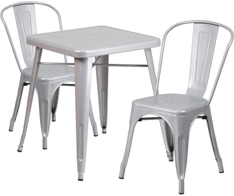 Flash Furniture CH-31330-2-30-SIL-GG 23.75'' Square Silver Metal Indoor-Outdoor Table Set with 2 Stack Chairs - Peazz Furniture