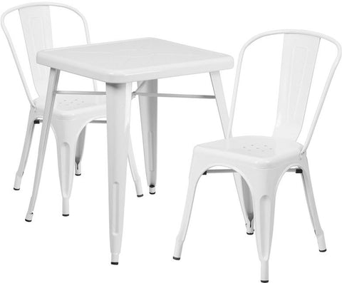 Flash Furniture CH-31330-2-30-WH-GG 23.75'' Square White Metal Indoor-Outdoor Table Set with 2 Stack Chairs - Peazz Furniture