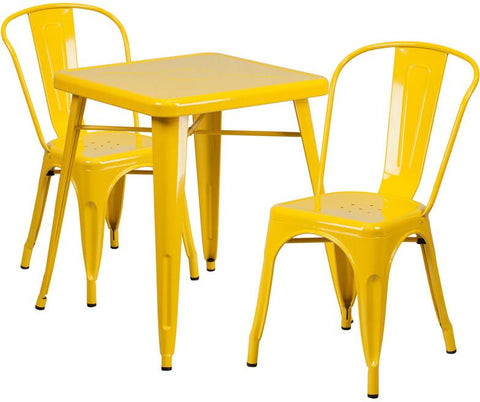 Flash Furniture CH-31330-2-30-YL-GG 23.75'' Square Yellow Metal Indoor-Outdoor Table Set with 2 Stack Chairs - Peazz Furniture