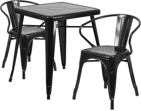 Flash Furniture CH-31330-2-70-BK-GG 23.75'' Square Black Metal Indoor-Outdoor Table Set with 2 Arm Chairs - Peazz Furniture