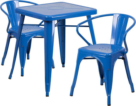 Flash Furniture CH-31330-2-70-BL-GG 23.75'' Square Blue Metal Indoor-Outdoor Table Set with 2 Arm Chairs - Peazz Furniture