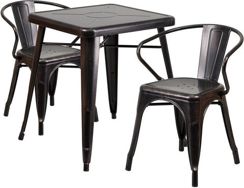 Flash Furniture CH-31330-2-70-BQ-GG 23.75'' Square Black-Antique Gold Metal Indoor-Outdoor Table Set with 2 Arm Chairs - Peazz Furniture