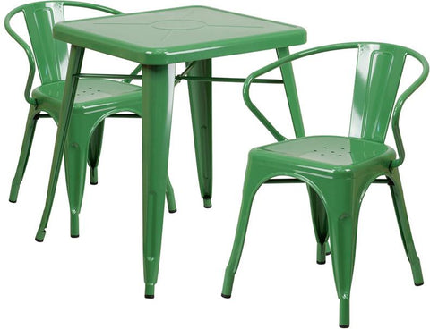 Flash Furniture CH-31330-2-70-GN-GG 23.75'' Square Green Metal Indoor-Outdoor Table Set with 2 Arm Chairs - Peazz Furniture
