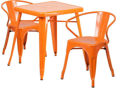 Flash Furniture CH-31330-2-70-OR-GG 23.75'' Square Orange Metal Indoor-Outdoor Table Set with 2 Arm Chairs - Peazz Furniture