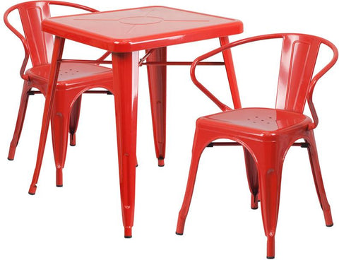 Flash Furniture CH-31330-2-70-RED-GG 23.75'' Square Red Metal Indoor-Outdoor Table Set with 2 Arm Chairs - Peazz Furniture