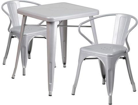 Flash Furniture CH-31330-2-70-SIL-GG 23.75'' Square Silver Metal Indoor-Outdoor Table Set with 2 Arm Chairs - Peazz Furniture