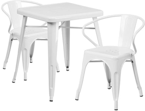 Flash Furniture CH-31330-2-70-WH-GG 23.75'' Square White Metal Indoor-Outdoor Table Set with 2 Arm Chairs - Peazz Furniture