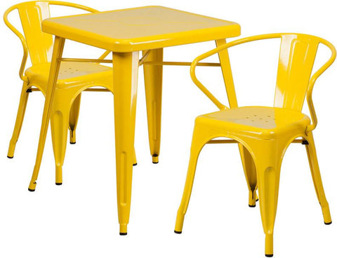 Flash Furniture CH-31330-2-70-YL-GG 23.75'' Square Yellow Metal Indoor-Outdoor Table Set with 2 Arm Chairs - Peazz Furniture