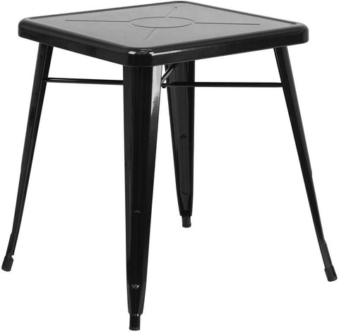 Flash Furniture CH-31330-29-BK-GG 23.75'' Square Black Metal Indoor-Outdoor Table - Peazz Furniture