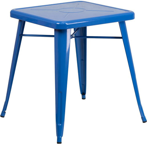 Flash Furniture CH-31330-29-BL-GG 23.75'' Square Blue Metal Indoor-Outdoor Table - Peazz Furniture